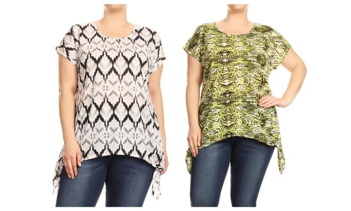 6aee7037e67 Women Plus Size Tied Bottom Hem Tribal Print Fashion Top Tee Blouse ...