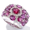 Sterling Silver 7.00ct Rhodolite Garnet & White Topaz Wide Ring.....