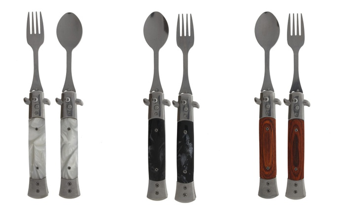 4 Spring Assisted Spoon& Fork with faux marble handle (Set)