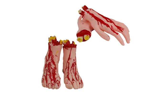 PACK OF SEVERED LIMBS RUBBER LATEX BODY PARTS HALLOWEEN COSTUME PARTY DECORATION