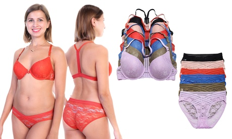 6-Pack Front-Closure Wired Bras and Panties Set (Sold Separately)