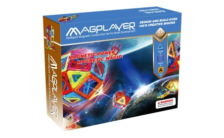 Magplayer 45 Pieces Magnetic Toys Blocks and Tiles Construction