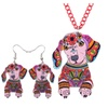 Acrylic Statement Dachshund Dog Necklace Earrings Jewelry Sets