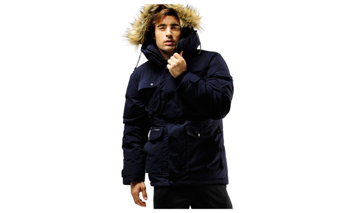 FUERZA FZX-895 Mens Down Wellon Raccoon Fur Hooded Parka Jacket