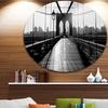 Dark Brooklyn Bridge' Disc Cityscape Photo Circle Metal Wall Art