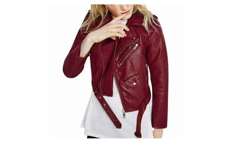 Women Faux Leather Motorcycle Biker Short Coat Jacket 4687fd26-76ca-4751-ae2f-e86954853552