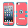 Insten Hard Layer Silicone Case stand For iPod Touch 5th 6th Pink Blue