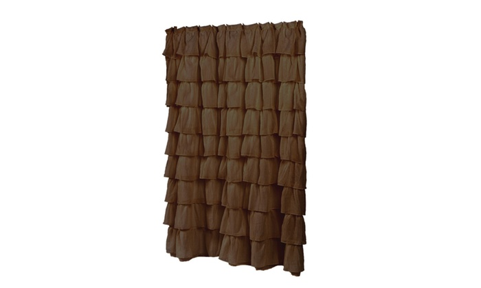 70 X 72 Carmen Brown Ruffled Tier 100 Polyester Fabric Shower Curtain