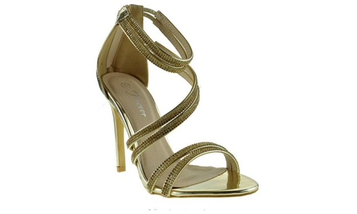 cdbf76a863e Gold Strappy Rhinestone Heels by Forever