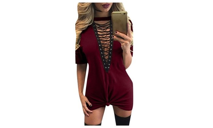 Women Short Sleeve Deep V Neck Bandage Shirt Dress Nightclub Dress