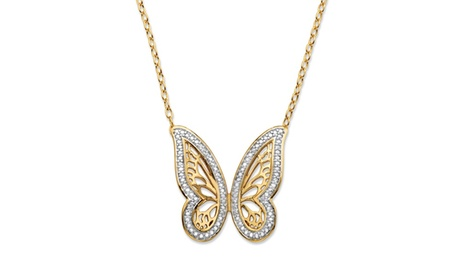 "Diamond Accent 18k GP Butterfly Necklace 18""-20"" d3fd4e9b-1281-4b3c-a1b3-7997684a9aef"
