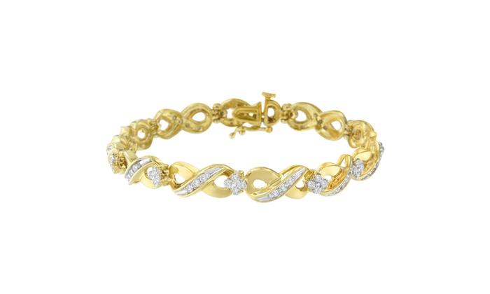 10k Yellow Gold 1 Cttw Round Cut Diamond Infinite Love Bracelet I J I2