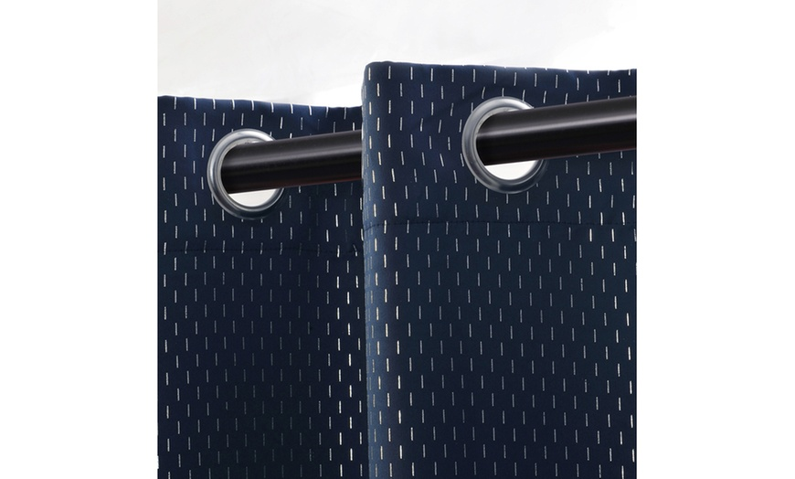 Navy Blue Shimmer Insulated Thermal, Shimmer Grommet Curtain Panels