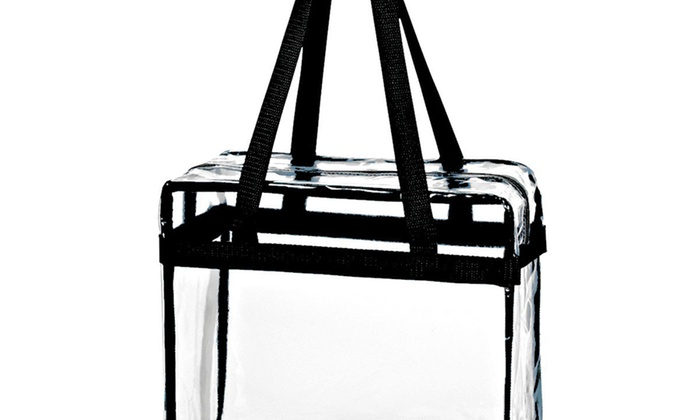 b60b614341f5 Crystal Clear Transparent PVC Plastic Women Tote Bag with Zippered Top  Closure