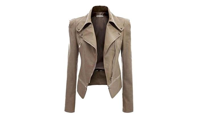 YUNY Women Ladies Zipper Biker PU Leather Jackets Basic Outwear