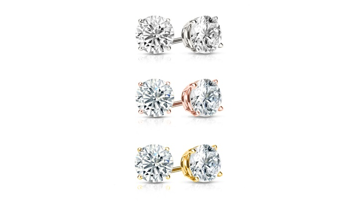 7389431a1650e 6.00 CTTW Sterling Silver Stud Earrings Set Made with Swarovski Crystals by  Mina Bloom (3 Pairs)