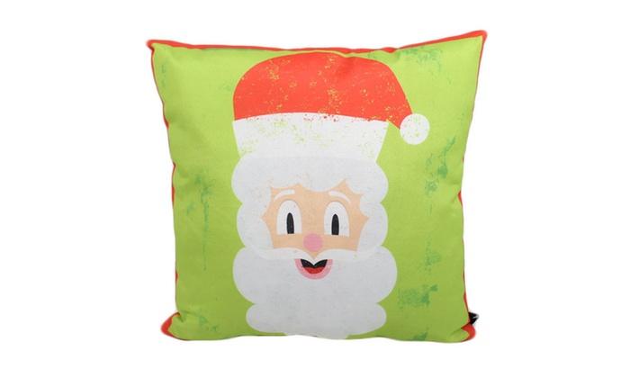 Lava Home Decorative Multicolored Santa Outdoor Pillow 18 X18