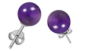925 sterling silver 7 carat amethyst studs, February gemstone earrings