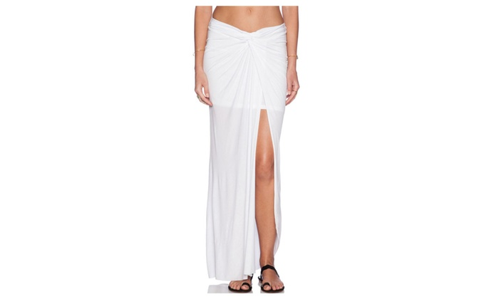 Women's White Ruched Slit Maxi Skirt - White / one size