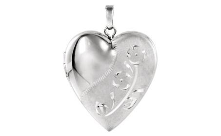 Sterling Silver Design-Engraved Heart Locket 9bec1252-23c6-4852-874c-c7264cf7d2fa