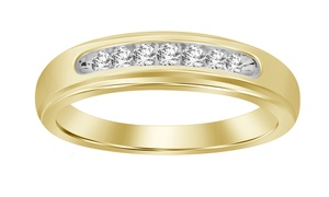 1/4 cttw Round Yellow Natural Diamond Solid 10K Yellow Gold Men's Band Ring