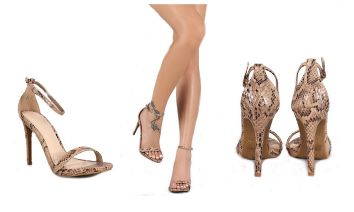 Python Ankle Strap Open Toe Style Heel Shoe by Anne Michelle
