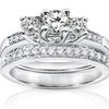 Genuine Diamond Wedding Set 7/8 Carat (ctw) in 14K White Gold