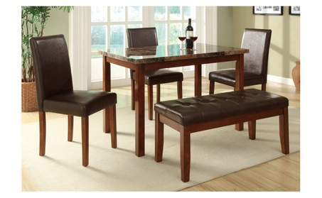 5pc Casual Dining Set Marble Top in Medium Oak Finish 47f8b689-3aa7-403a-8cfd-64eb2b5e7035