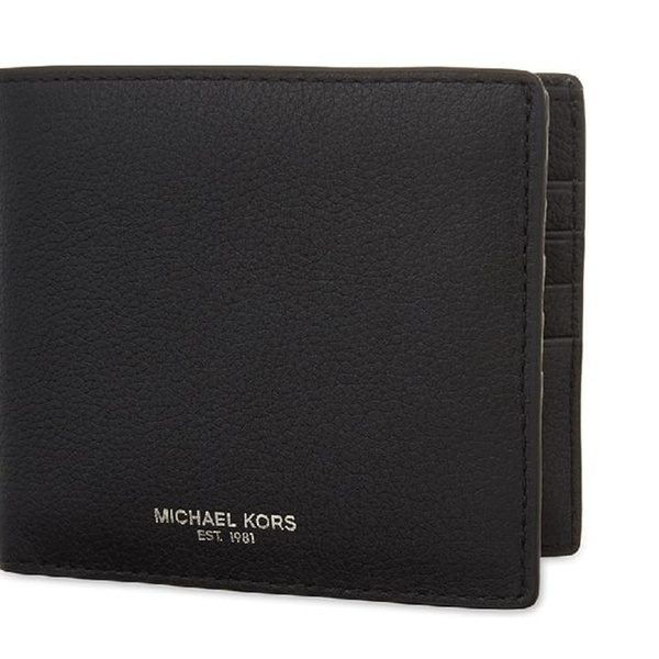 4e66007ba92646 Michael Michael Kors Mens Bryant Black Slim Leather Billfold Wallet |  Groupon