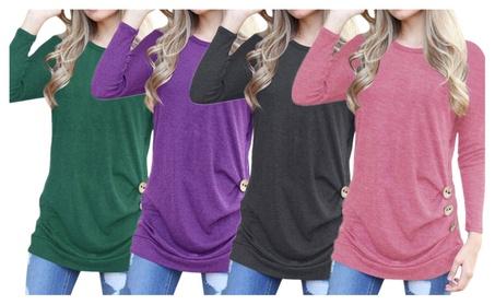 Women's Casual Long Sleeve Button Décor T-shirt Top Blouse 8d319d49-452e-4499-a08b-e1642a94d284