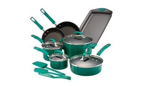 Rachael Ray Hard Porcelain Enamel Nonstick Cookware Set, 14-Piece e848e64d-47c0-47b7-a02b-f1ed57d56667