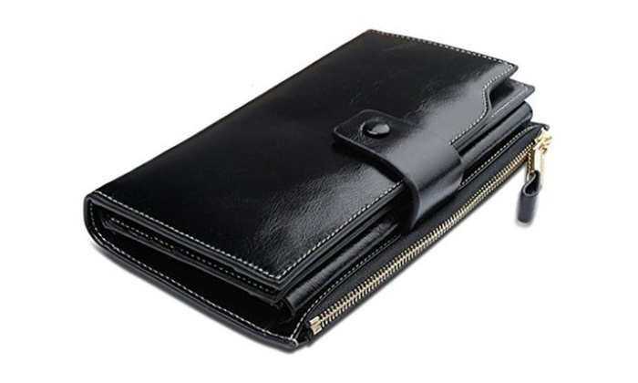 Large Capacity Luxury Wax Genuine Leather Wallet With Zipper Pocket