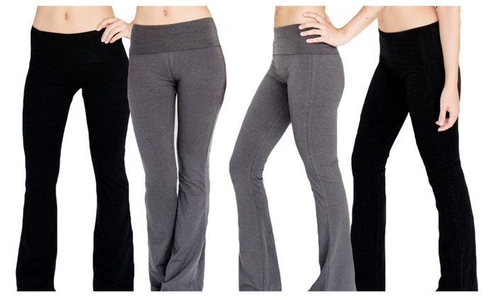 Women's Long Flare Yoga Pants 2, 3, or 4 Pack Pc0001