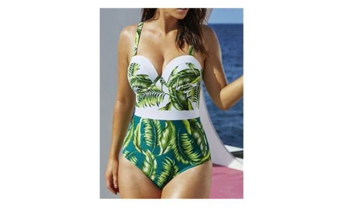 Leaf Printed High Waisted One Piece Swimsuit
