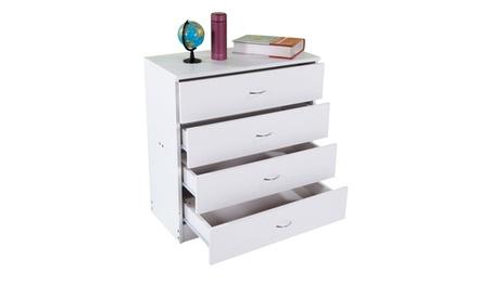 FCH Simple 4-Drawer Dresser White/Black MDF Wood