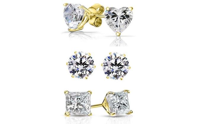 6916dcebe8a06 6.00 CTTW 3 Pack Swarovski Elements Crystal Studs in 18K Gold By Mina Bloom