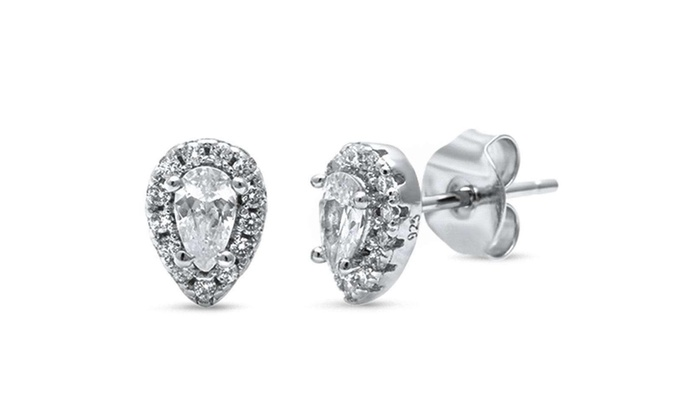 c05c12a0d Up To 82% Off on Halo Pear Shape Cubic Zirconi... | Groupon Goods