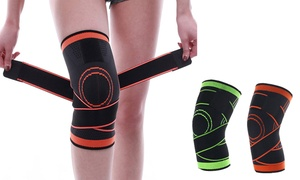 Compression Knee Sleeve with Adjustable Straps Support Pad Nylon Silicon Brace