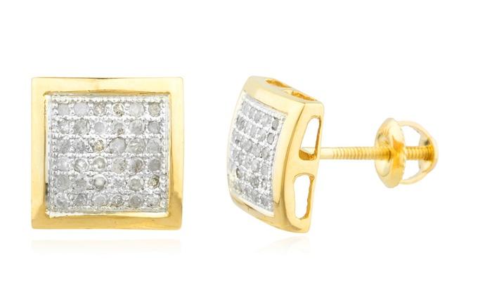 215e8077f 10K Gold .25Ct Diamond Stud Earrings 8.3mm Square Kite Dome Screw Back