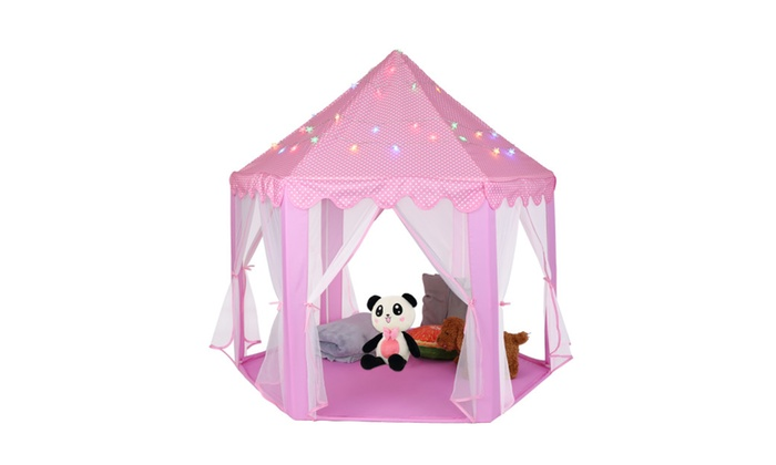 55  Pink Princess Castle Playhouse Kid Play Tent Toy With ...  sc 1 st  Groupon & 55