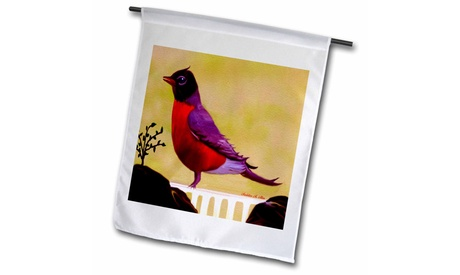 Garden Flag Robin Redbreast Parched On A Fence - Bird Art - 12 by 18-inches (Goods For The Home Seasonal Dcor Seasonal Outdoor) photo