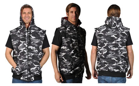 Knockout Men's Sleeveless Camouflage Contrast Hoodie 098cccc3-edf2-45e4-b1cd-4b7ec9527748