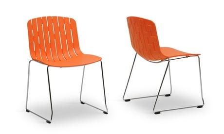Closeout: Ximena Orange Plastic Modern Dining Chair (Set of 2)