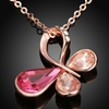 18K Rose Gold Plated Colored Swarovski Elements Butterfly Necklace