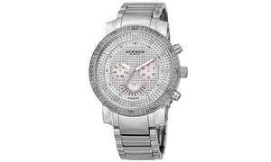 Akribos XXIV Men's Diamond-Accented Chronograph Bracelet Watch AKGP900
