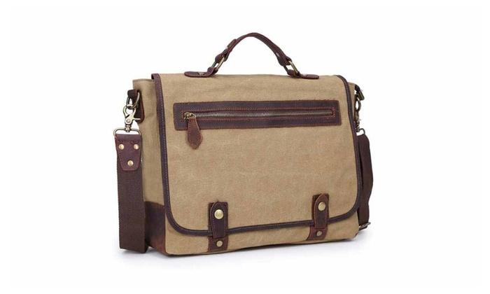 Vintage Canvas Leather School College Messenger Bag