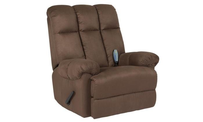 Deluxe Microfiber Rocker Massage Recliner Heated Sofa Chair  Brown ...