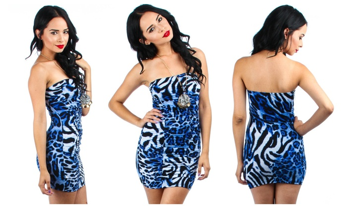Printed Ruched Strapless Dress With Necklace
