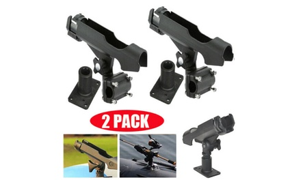 2PC For Kayak Boat Fishing Pole Rod Holder Tackle Kit Adjustable Side Rail Mount