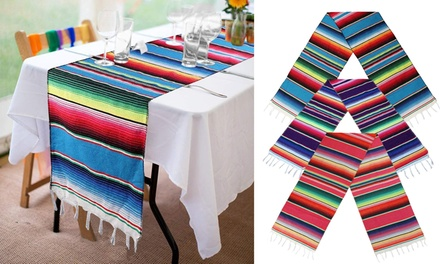 Mexican Serape Table Runner for Mexican Party Wedding Decorations, 84x14inch